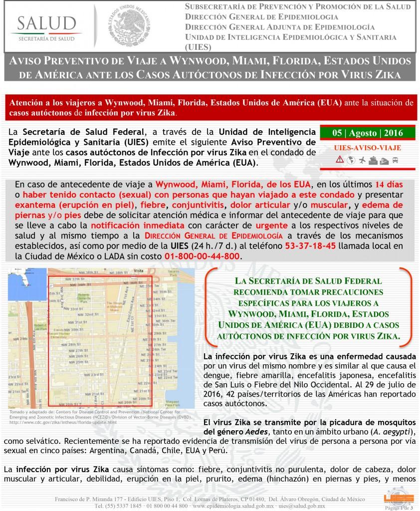 Aviso Preventivo de Viaje por Ébola