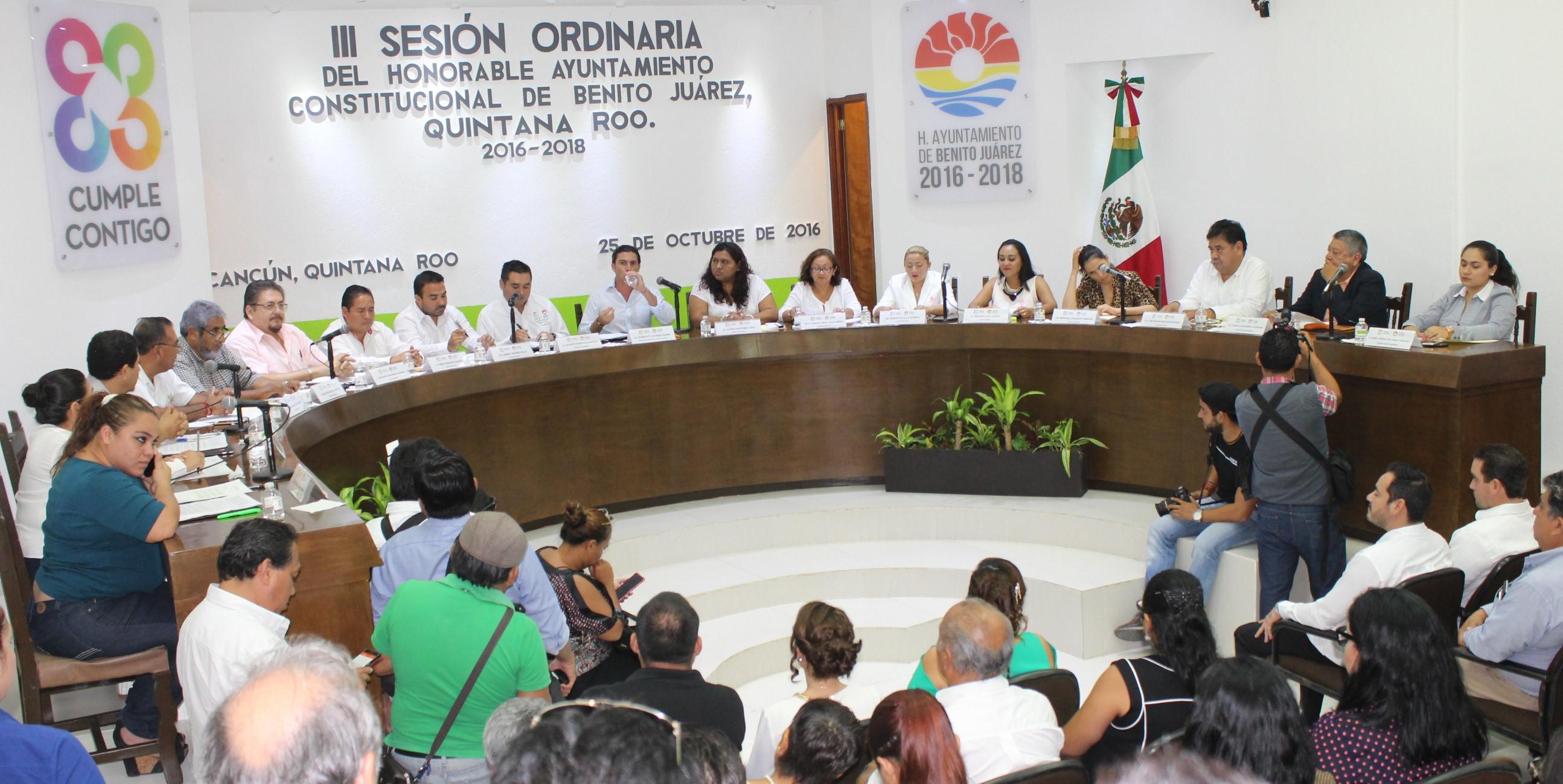 La Tercera Sesión Ordinaria de Cabildo de Benito Juárez